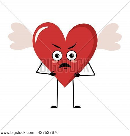 Cute Character Red Heart With Wings And Angry Emotions, Face, Arms And Legs. The Funny Or Grumpy Fes