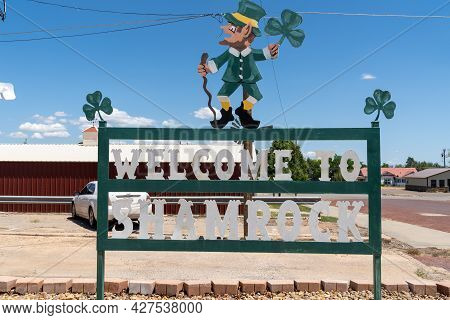 Shamrock, Texas - May 6, 2021: Welcome To Shamrock Texas Sign, With A Leprechaun. This Is A Town Alo