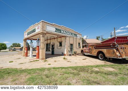 Shamrock, Texas - May 6, 2021: Old Fashioned Classic Magnolia Gas Station Along Route 66