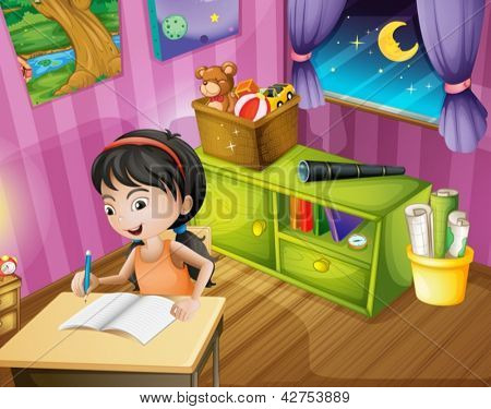 Illustration of a girl holding a pencil