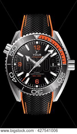 Realistic Watch Clock Silver Black Orange Face With Fabric Strap On Isoled Design Classic Luxury Vec