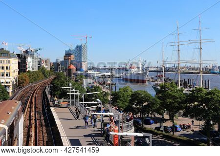 Hamburg, Germany - August 28, 2014: People Visit The Port In Hamburg. It Is The 15th Busiest Seaport