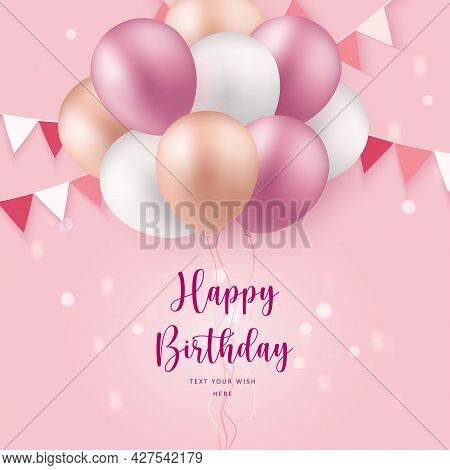 Elegant Rose Pink Pastel Color Ballon And Party Popper Ribbon Happy Birthday Celebration Card Banner