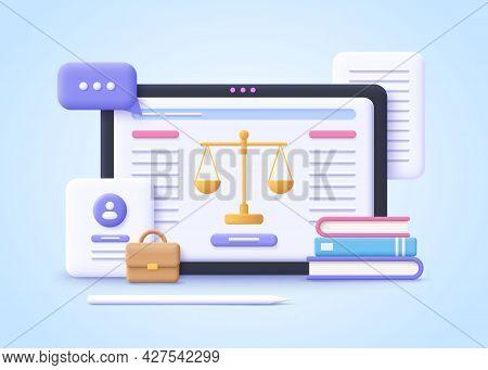 Concept Of Law. Professional Lawyer, Punishment, Judgement, Law Advisor, Consultant, Advocate. 3d Re