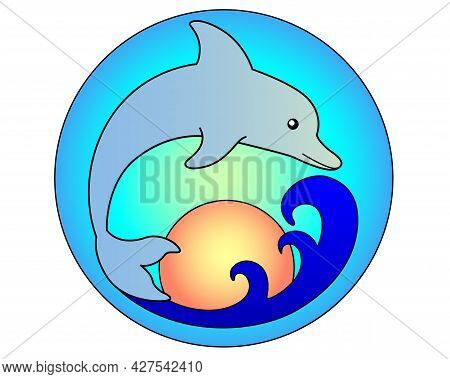 Dolphin Jumping Out Of The Sea On The Background Of The Sky And The Setting Sun - Vector Full Color