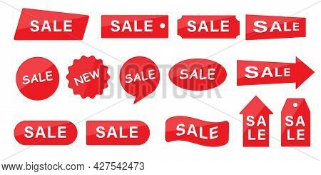 Collection Of Discount Tags. Sale Banners Horizontal And Vertical Design. Template For Website, Post