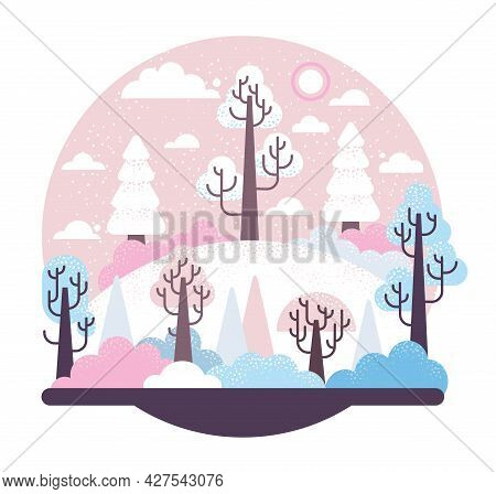 Snow-covered Hill With Trees And Fir-trees - Winter Vector Cartoon Illustration