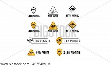 Storm Warning, Large Collection Of Signs, Symbols And Logos Isolated On White Background. Weather Wa