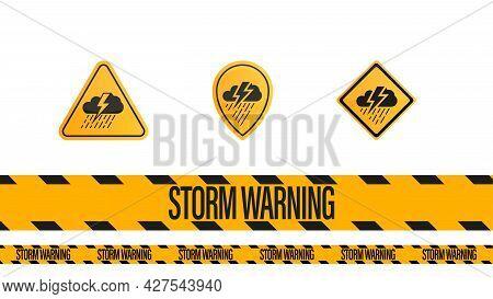 Storm Warning, Yellow - Black Warning Tape And Weather Warnings Symbols Isolated On White Background
