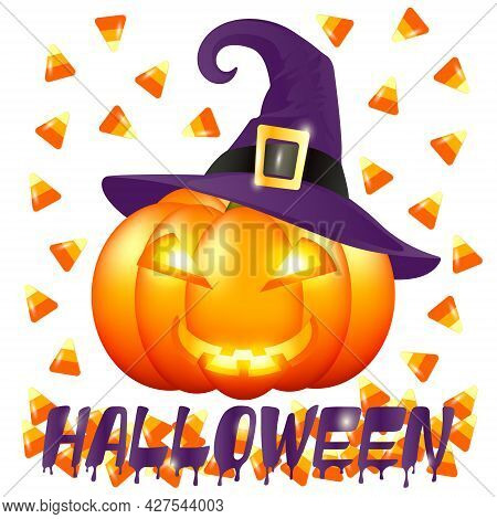 Halloween Pumpkin In A Witch's Hat And Scattered Candy Corn On A White Background. Halloween Poster