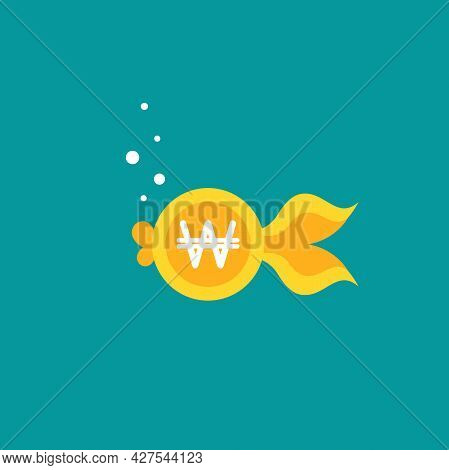 Goldfish. Korean Won Coin As Golden Fish. Flat Icon Isolated On Blue Background. Free, Easy Catch Mo