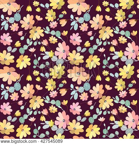 Cute Pattern In Small Flowers With Eucalyptus. Small Pink, Yellow Flowers. Exotic Burgundy Backgroun