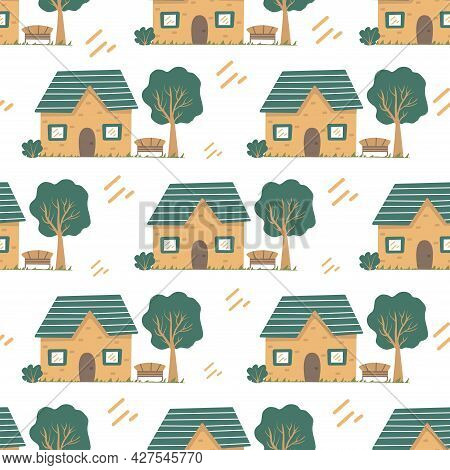 Seamless Pattern With Cute Country House With A Bench And A Tall Tree. Colorful Vector Illustration