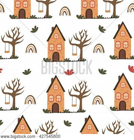 Seamless Pattern With Cute Unusual Brick House With A Triangular Roof And Rainbow. Swing On A Tree B