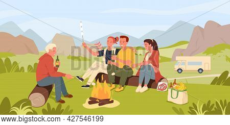 Friend People Cook Marshmallow On Camp Picnic In Mountain Landscape, Sitting By Fire