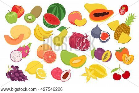 Fruits Food Set, Fresh Organic Eco Summer Seasonal Products For Agricultural Market. Cartoon Fruity