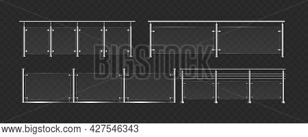 Glass Balustrade With Steel Handrails Set, 3d Fence Sections, Glass Railing Collection