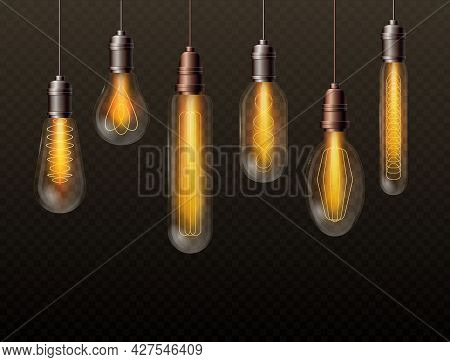 Realistic Light Bulbs Set, Trendy Decor Glowing Glass Lamps Hanging On Long Filaments