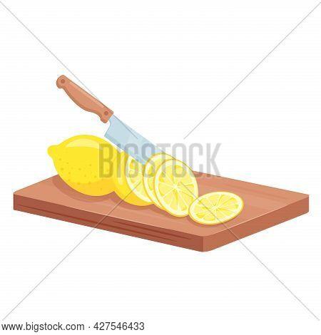 Cut Lemon Fruits, Isometric Ripe Juicy Lemon Chopped Slices Lie On Kitchen Board Plank