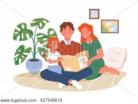 Parents Reading Book To Kid, Happy Parenting, Child, Mother And Father Sitting Together