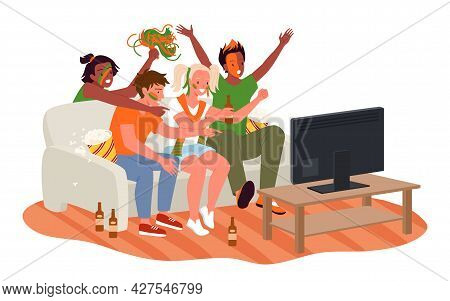 Friend People Fans Watching Soccer Match On Tv, Cheer For National Football Team