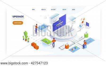 Upgrade, Landing Page Design, Website Banner Vector Template. Software Update, Operating System Upgr