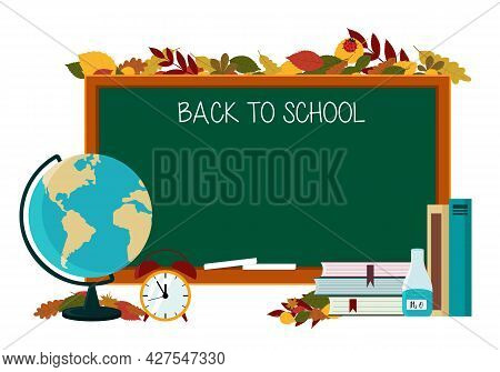 Illustration Of A Poster On The Theme Of Back To School. Globe, Textbooks, Pencil On The Background