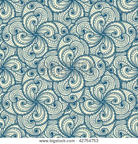 Floral beautiful blue seamless pattern.