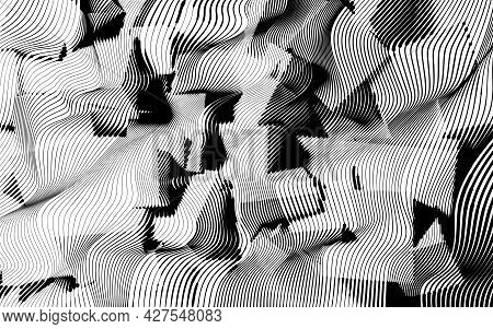 Abstract Woodcut Styled Background With Waves Of Lines Revealing Cube Shapes.