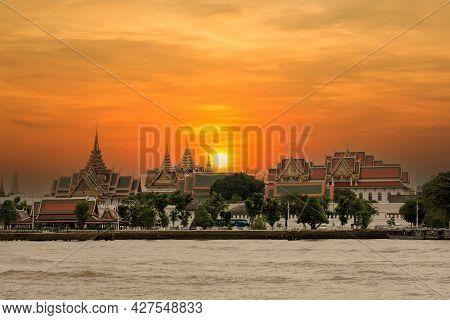 Temple  Against The Sky On A Sunset, Wat Phra Kaew, Bangkok, Thailand. Grand Palace And Wat Phra Kea