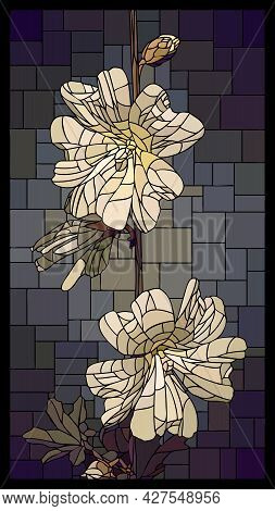 Vector Vertical Angular Mosaic With Blooming White Mallow Flowers In Vertical Stained Glass Window.