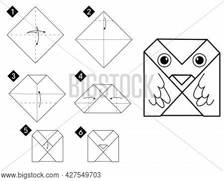 Step By Step How To Make Simple Origami Owl Bird . Vector Monochrome Instructions Illustration. Blac