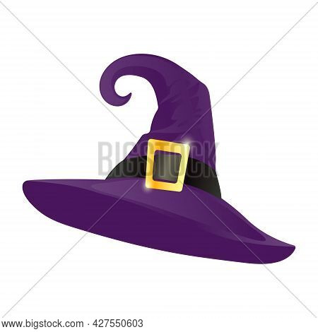 Purple Pointed Witch Hat With Gold Buckle Isolated On White Background. Witch Hat In Cartoon Style.