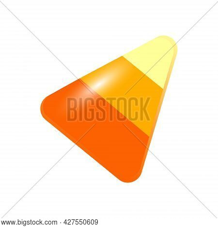 Colorful Candy Corn Isolated On White Background. Halloween Sweet Candy For Children. Happy Hallowee