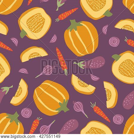 Seamless Pattern With Vegetables On A Purple Background. Pumpkin, Carrot, Eggplant, Onion On A Purpl