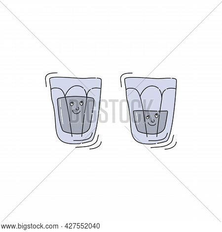 Vodka Glassware With Smile Face On White Background. Cartoon Sketch Graphic Design. Doodle Style Wit