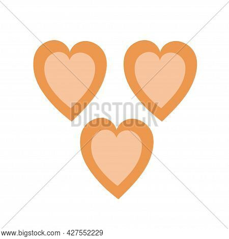 Heart Shaped Cookies On An Isolated Background. Tea Time. Appetizer Or Dessert. Design Elements. Unh