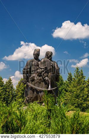 Plyashevo Village.ukraine - July 28, 2021: Monument To The Zaporozhye Cossacks At The Scene Of The B