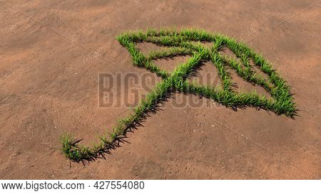 Concept or conceptual green summer lawn grass symbol shape on brown soil or earth background, sign of opened umbrella. A 3d metaphor for protection, security and comfort,  tourism, fashion and style