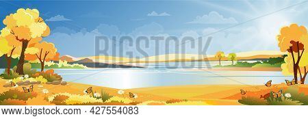 Autumn Landscape At Village By The River With Grass Land And Mountain With Blue Sky And Clouds, Vect