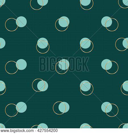 Vector Gold Rings Teal Polka Dot Seamless Pattern