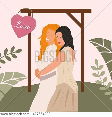 Two Lesbian Women In Wedding Dresses Are Happy And Engaged. Beige Vector Illustration.