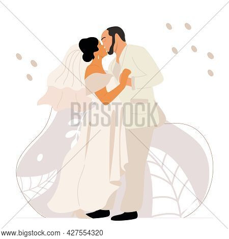 A Groom In A Beige Tuxedo Kisses His Bride In A Wedding Dress With A Hem And A Long Veil. Vector Ill