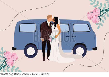 After The Wedding, The Newlyweds Go On A Honeymoon Trip. Woman In Wedding Dress, Man In Tuxedo, Retr