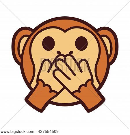 Emoji Of A Little Monkey Covered Mouth Vector Illustration
