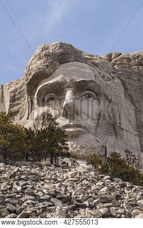 Black Hills, Keystone, Sd, Usa - May 31, 2008: Mount Rushmore. Closeup Of President Lincoln Face Scu
