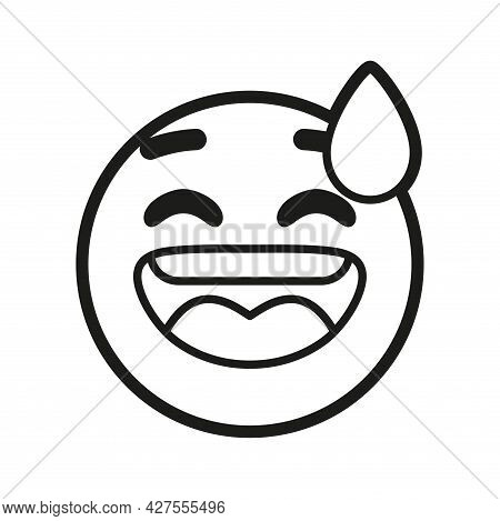 Isolated Emoji Face Of A Sweat Smile Vector Illustration