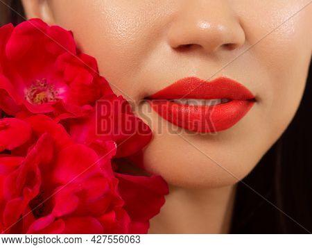 Smiling Young Girl. Beauty Face Closeup. Sexy Lips. Beauty Natural Lip Makeup Detail. Beautiful Make
