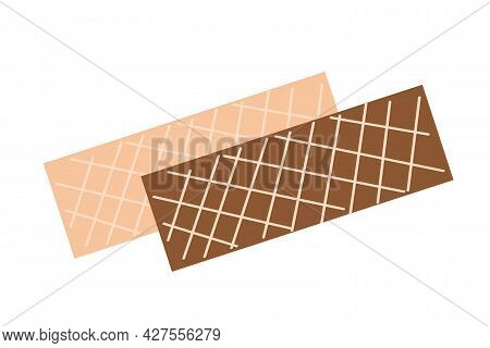 Waffles With White Filling And Chocolate Waffles On An Isolated Background. Tea Time. Dessert. Desig