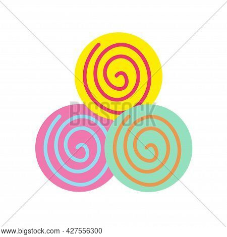 Round Multi-colored Marmalade On An Isolated Background. Tea Time. Dessert. Design Elements. Nice Sw